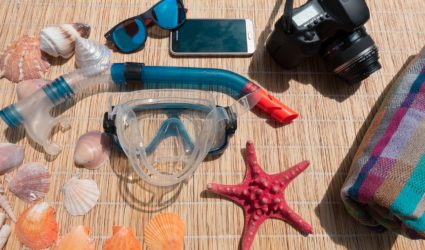 Snorkel, snorkel mask, sunglasses and shells for Anna Maria Island snorkel trip